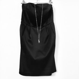 Express Black Satin Strapless Dress